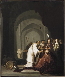 Artemisia krijgt de beker met de as van haar man Mausolos erin aangereikt