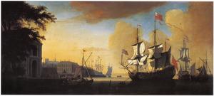 Schepen bij een Engelse havenstad