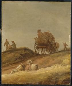 Duinlandschap met boerenwagen