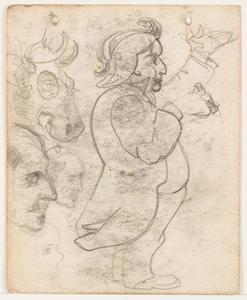 Schets van een man in jacquet met sigaar en studies van hoofden en een kop van een koe