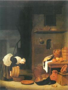 Keukeninterieur met dienstmeid