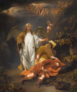 De droom van Jacob te Betel: engelen dalen af uit de hemel naar de aarde langs een ladder  (Genesis 28:14-22)
