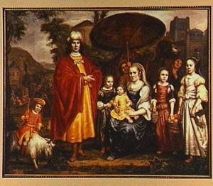 Portret van een onbekende familie in oriëntaalse dracht in oud-testamentisch decor
