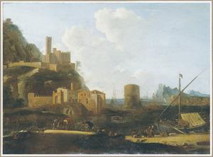 Zuidelijk landschap met een havenplaats aan de voet van een berg