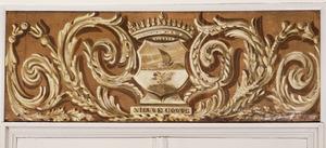 Bord met wapenschild omgeven door neo-rococo ornamenten