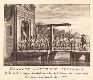 Henrick Janszoon Akkerman vertrekt in 1474 met Amsterdamse schutters naar Nuis om hulp te bieden aan Karel de Stoute