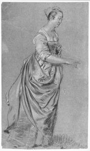 Staande vrouw, wijzend naar rechts