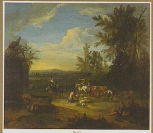 Herders met vee bij een antieke fontein