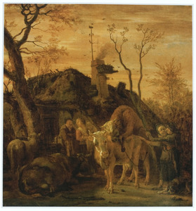 Erf van een boerderij met een stier die een koe dekt en een met de boerenmeid vrijende bulloper