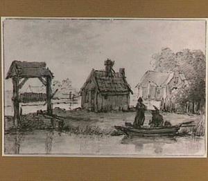 Overdekte windas, bootje en huizen aan een rivier