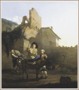 Halthoudende ezelrijder voor een herbegr in een Romeinse ruïne