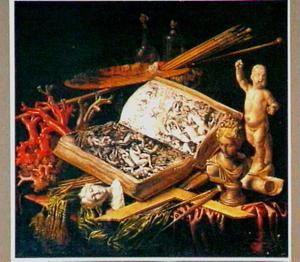 Stilleven met een boek met prenten van het laatste oordeel, schildergerei, koraal en sculpturen