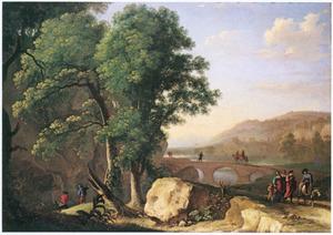 Zuidelijk landschap met stenen brug, op de voorgrond reizigers