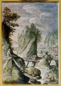 Landschap met een heremiet,  een brug en twee wandelaars