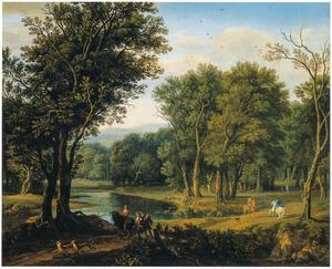 Bosrijk rivierlandschap met ruiters, voetgangers en honden op een landweg