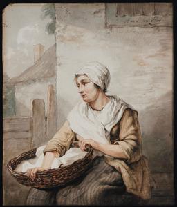Zittende vrouw met mand