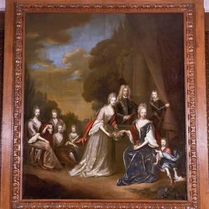 Groepsportret van Johan Zeger van Rechteren (1655-1701), zijn echtgenote Agnes Sophie van Raesfelt en zeven van hun kinderen