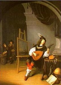 Luitspelende schilder in zijn atelier