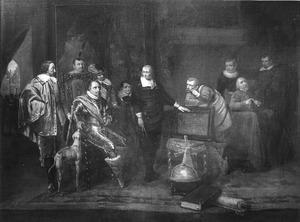 De prinsen Maurits en Frederik Hendrik die onderricht krijgen van  Jan Adriaensz. Leeghwater over de drooglegging van de beemster