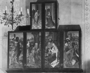 De aanbidding der Wijzen (buitenzijde linker- en rechterluik); Christus verschijnt aan Maria (buitenzijde linker- en rechter bovenluik)