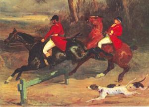 Twee jagers tijdens een sprong
