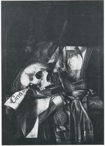 Vanitasstilleven met een schedel, horloge, pronkbeker en documenten, in een nis