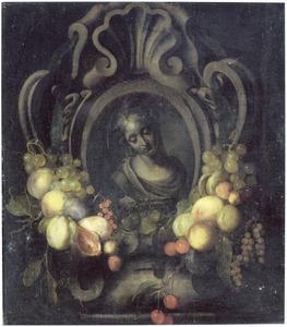 Een vrouwenbuste in een gebeeldhouwde cartouche met  vruchten versierd