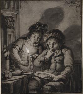 Twee etende kinderen bij kaarslicht