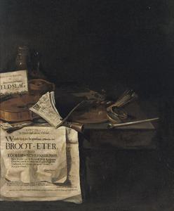 Stilleven met de annonce van de begrafenis van 'Broot-Eter' op 12 oktober 1654
