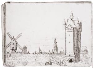 Antwerpen met van links naar rechts de laatmiddeleeuwse stadsmuur, de Sint-Jacobskerk, de Franciscanenkerk, de Onze-Lieve-Vrouwekathedraal en de  Rode Poort