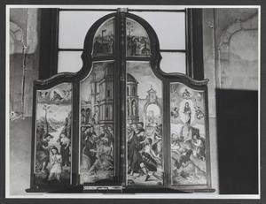 De doop van Christus in de Jordaan, de opwekking van Lazarus, Christus en de Samaritaanse vrouw (buitenzijde linkerluik); Christus geneest een blinde, de Transfiguratie, Christus in verzoeking (buitenzijde rechterluik)