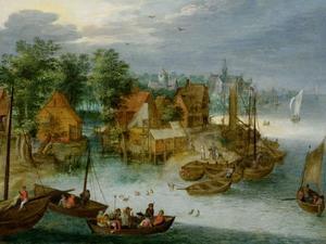 Gezicht op een dorp aan een rivier, met boten