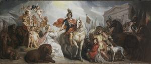 De Nederlandse Maagd biedt Frederik Hendrik het opperbevel aan