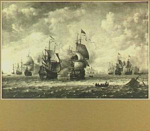 De zeeslag bij Terheijde, op 10 augustus 1653; links op de voorgrond admiraal Tromp met het schip 'Brederode', rechts daarvan de Engelse admiraal Monk met de 'Resolution'