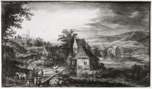 Landschap met dorp aan het water