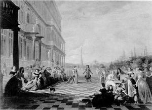 Gezelschap op het terras van een paleis