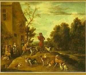 Jagers en honden bij een herberg