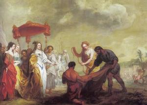Dido ziet toe hoe de omtrek van Carthago uit koeienhuid wordt gesneden
