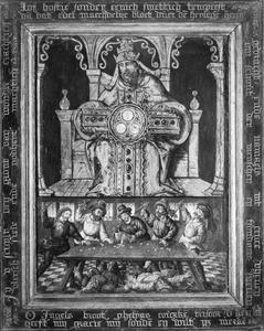 Het hostiewonder te Brussel op Goede Vrijdag 1370 (onder); Monstrans in de vorm van de Genadestoel (boven)
