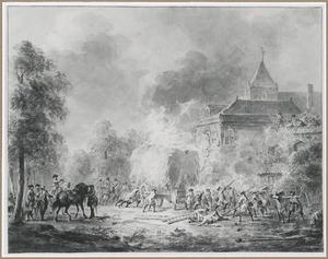 Bestorming van een kerkgebouw, met een brandende hooiwagen