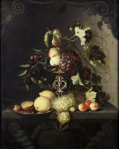 Stilleven van vruchten in een geornamenteerde nis