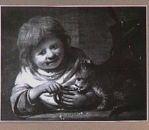 Pap etend kind met kat