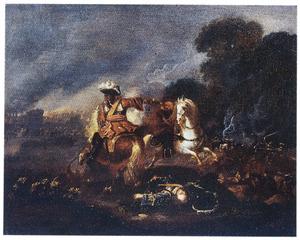 Twee vechtende ruiters in een landschap