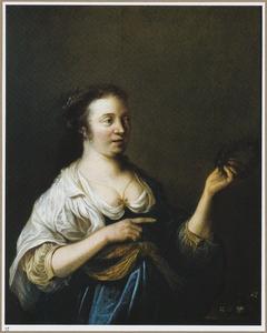 Jonge vrouw in Arcadisch kostuum