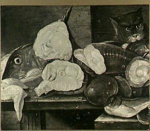 Visstilleven met een kat en oesters