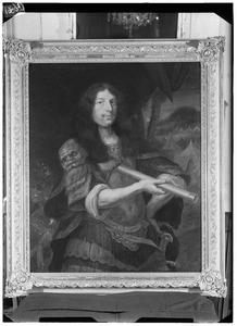 Portret van Hans Willem des H.R.R. baron van Aylva (?-1691), met een bediende