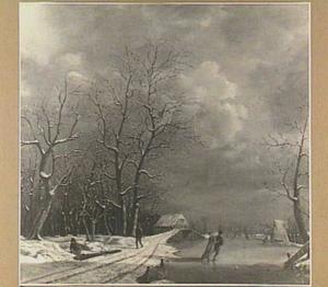 Winterlandschap met schaatsend paar op het ijs