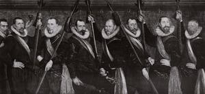 Zeven officieren en de Waard van de St. Jorisdoelen te Rotterdam, 1604
