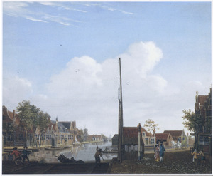 Gezicht op de Overtoom in Amsterdam, met links de Kosteverloren Wetering en rechts de Overtoomse vaart