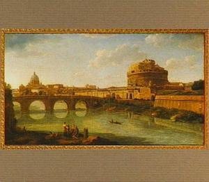 Gezicht op de Tiber, de Engelenburcht en de koepel van de Sint Pieter te Rome